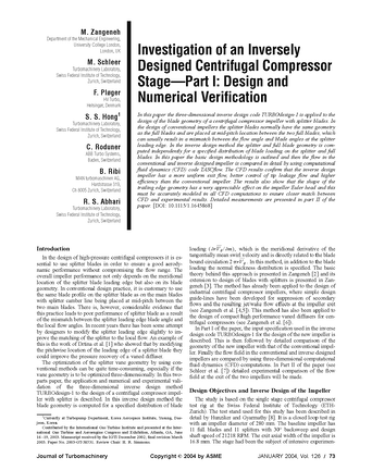 Investigation of an Inversely Design Centrifugal Compressor Stage