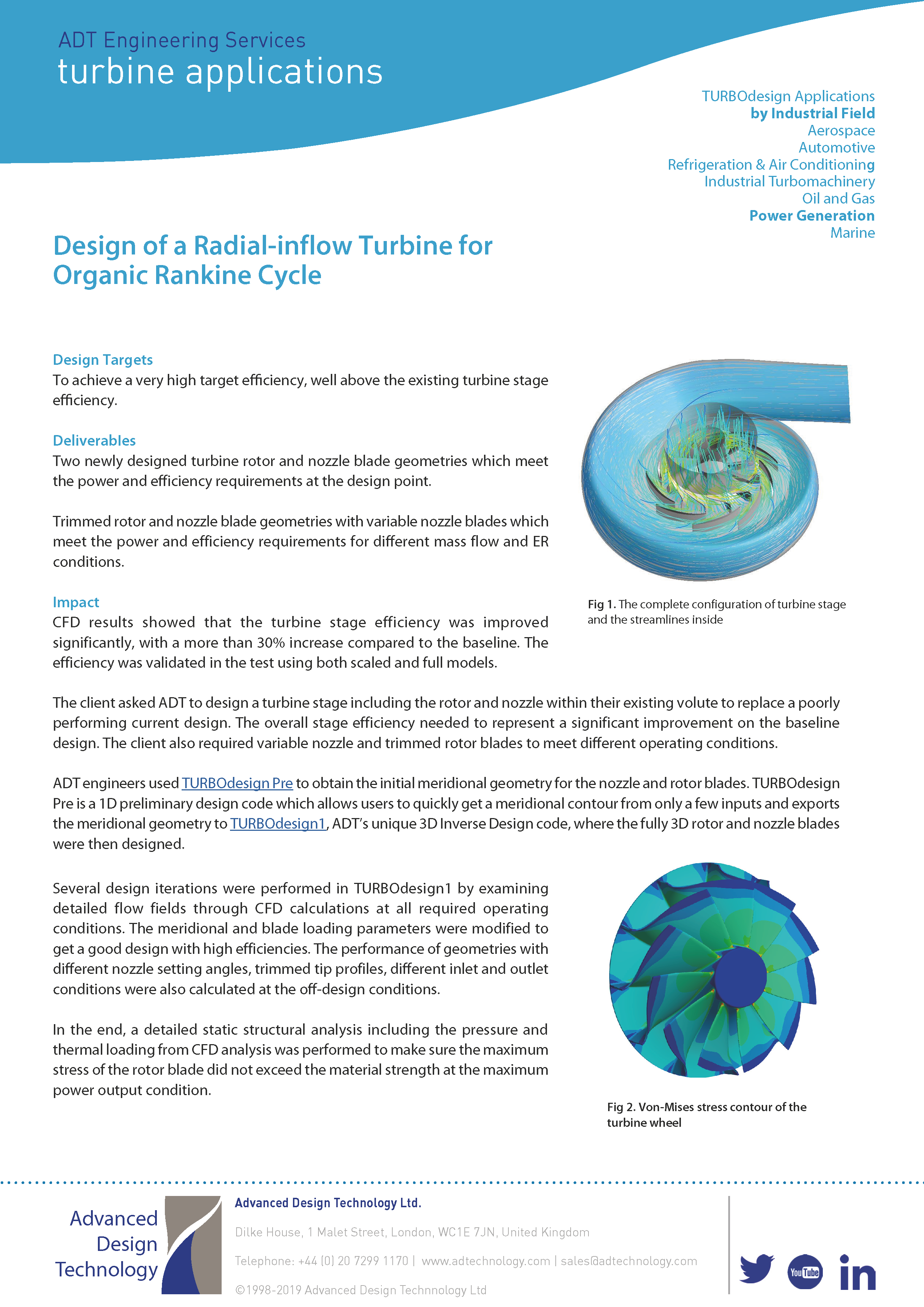 ADT Consultancy Summary - Design of a Radial Inflow Turbine front page